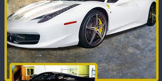 Ferrari wrapped in Gloss White vinyl