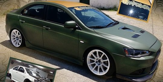 Mitsubishi Lancer wrapped in 1080 Matte Military Green and Brushed Gold vinyl