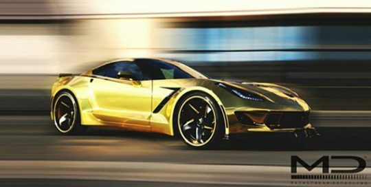 Chevrolet Corvette C7 wrapped in Avery Gold Chrome vinyl