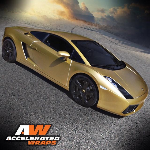 Lamborghini Gallardo wrapped in 1080 Gold Metallic vinyl