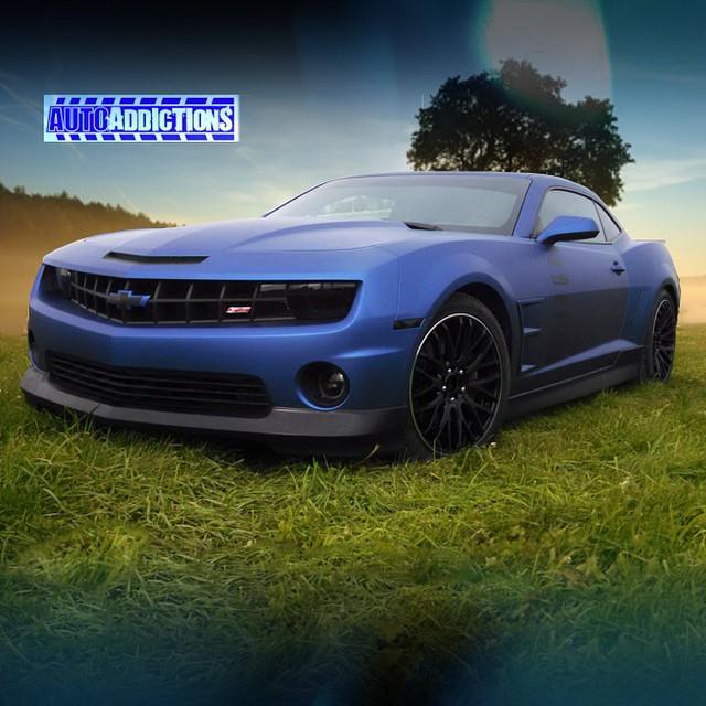Chevrolet Camaro wrapped in Avery SW Matte Brilliant Blue Metallic vinyl