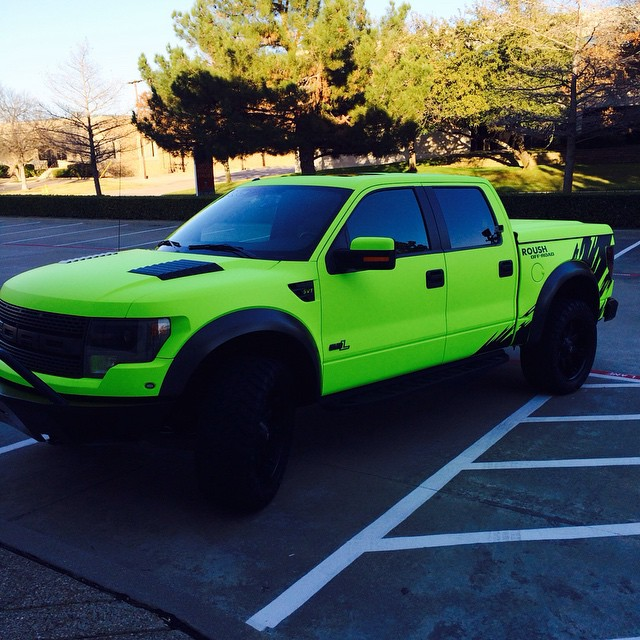 Ford Raptor wrapped in Hi-Liter fluorescent yellow