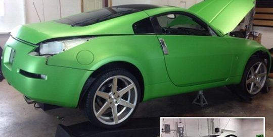 Nissan 350z wrapped in Avery Matte Green Apple Metallic vinyl