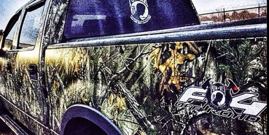 Ford F150 wrapped in Xtra camouflage vinylwrap