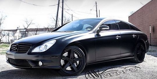 Mercedes Benz CLS63 wrapped in 1080 Satin Black vinyl