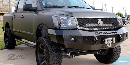 Nissan Titan wrapped in 1080 Matte Deep Black vinyl