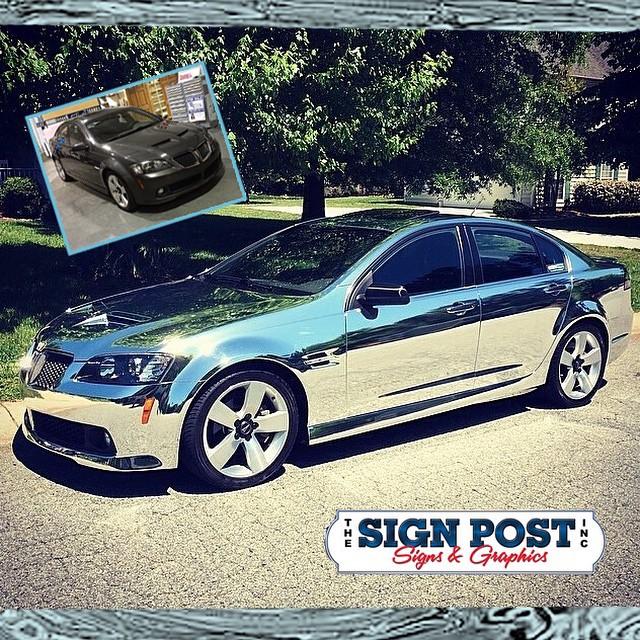 Pontiac G8 wrapped in Avery Conform Silver Chrome