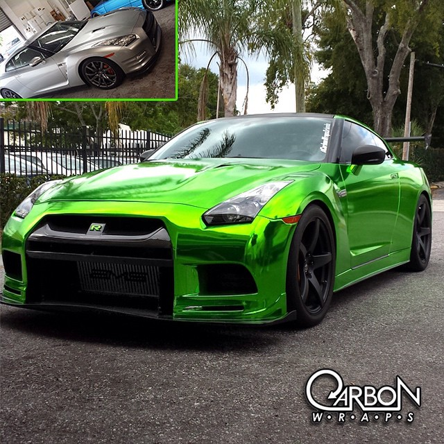 Nissan GTR wrapped in Avery Silver chrome vinyl over laminated 8300 Transparent Lime Tree Green