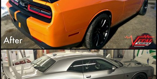 Dodge Challenger wrapped in Avery SW Gloss Orange