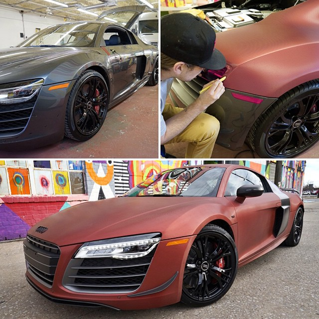 Audi R8 wrapped in Red Aluminum Carbon Fiber