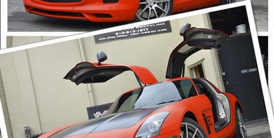 Mercedes Benz SLS wrapped in 1080 Matte Red and Satin Black
