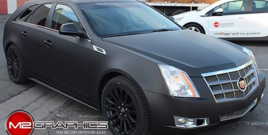 Cadillac CTS wrapped in Avery Matte Black