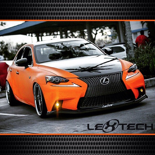 Lexus IS250 wrapped in 1080 Matte Orange and Gloss Black vinyl