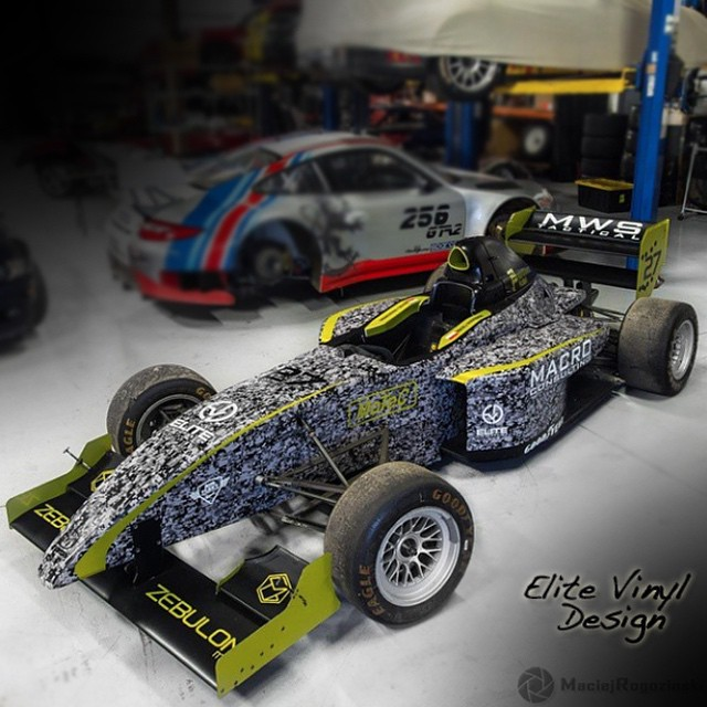 Pro Formula Mazda wrapped in 180Cv3 vinyl with 2300x Lime Green vinyl