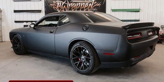 Dodge Challenger wrapped in 1080 Matte Deep Black