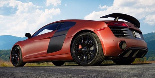 Audi R8 wrapped in UPP Carbon Fiber Red Aluminum vinyl