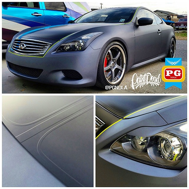 Infiniti PG Nola wrapped in Hi Liter Yellow accent stripe combined with Gunpowder and Satin Black vinyl