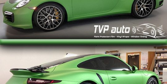 Porsche 911 wrapped in SW Apple Green Matte Metallic