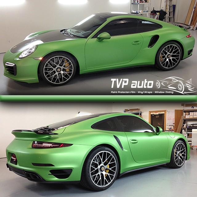 Porsche 911 wrapped in SW Apple Green Matte Metallic