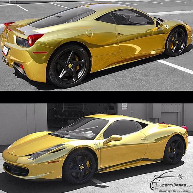 Ferrari 458 wrapped in Avery Gold Chrome