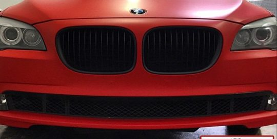 Bmw 350i wrapped in 1080 Matte Red vinyl