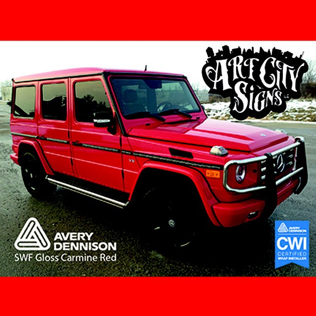 Mercedes Gwagon wrapped in Avery Gloss Carmine Red vinyl