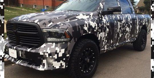 Dodge Ram wrapped in custom printed digital camo on 180Cv3
