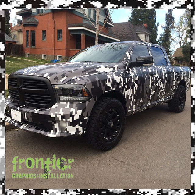 Dodge Ram wrapped in custom printed digital camo on 180Cv3