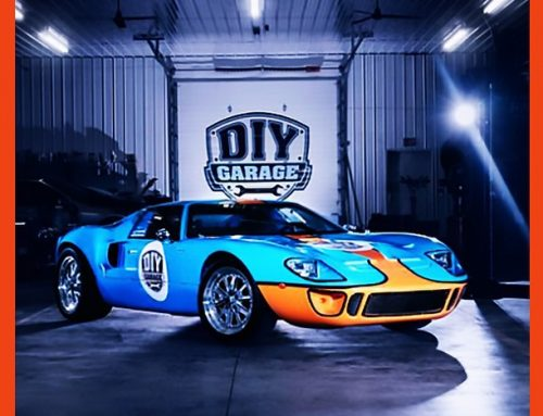 Ford GT40 wrapped in Gulf livery colors 1080 Gloss Sky Blue and Gloss Bright Orange vinyls