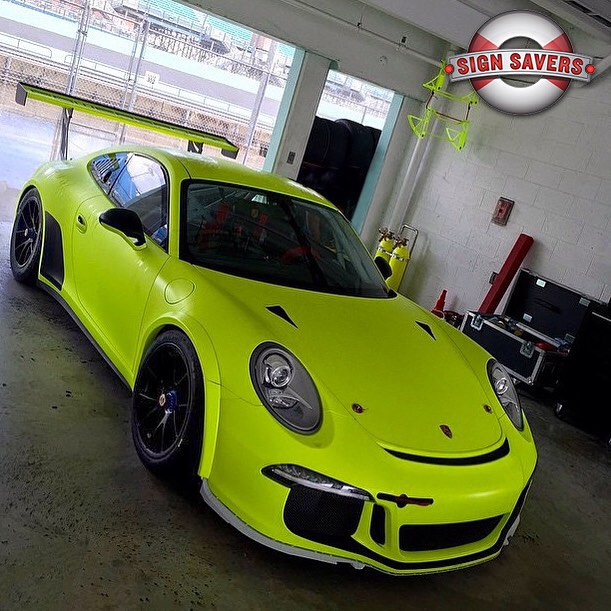 Porsche GT3 wrapped in Matte Fluorescent Hi Liter Yellow vinyl