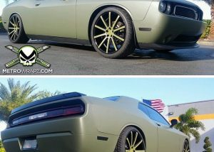 Dodge Challenger wrapped in 1080 Matte Military Green vinyl