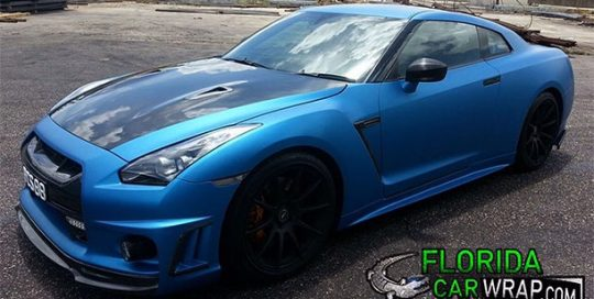 Nissan GTR wrapped in 1080 Matte Metallic Blue