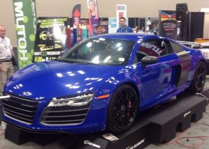 Audi R8 wrapped in custom printed Blue Carbon Fiber