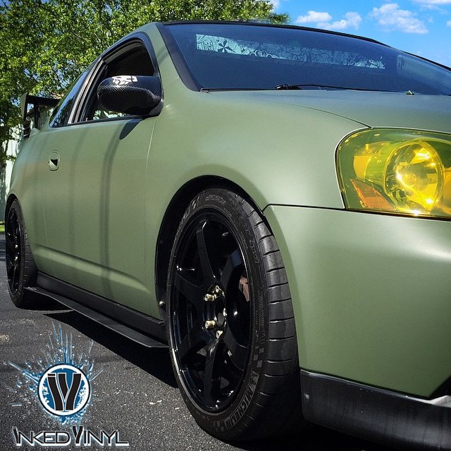 Acura Rsx Wrapped In Matte Military Green