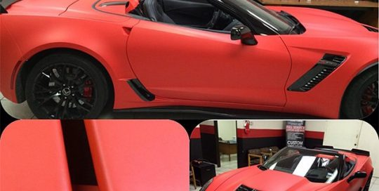 Chevrolet Corvette wrapped in 1080 Matte Red vinyl