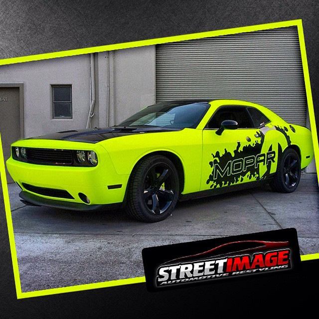 Dodge Challenger wrapped in Hi Liter Yellow