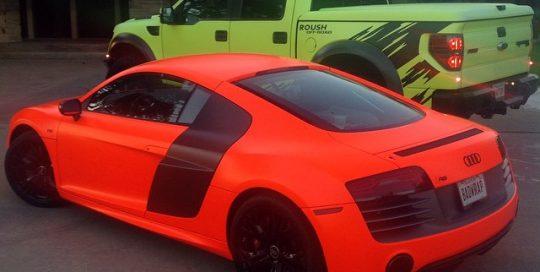 Audi R8 wrapped in 1080 Neon Fluorescent Orange or Hi Liter Fluorescent Yellow