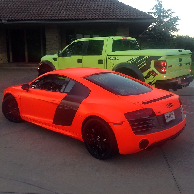 Audi R8 wrapped in 1080 Neon Fluorescent Orange or Hi Liter Fluorescent Yellow