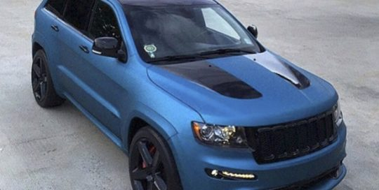 Jeep SRT wrapped in Matte Blue Metallic