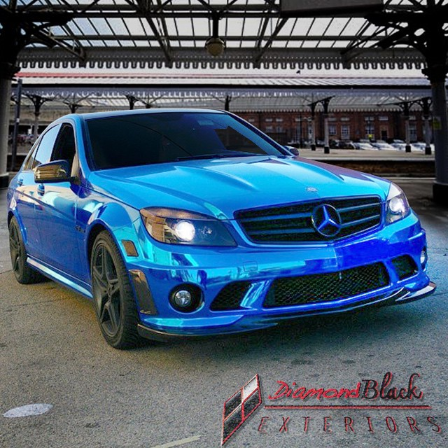 Mercedes Benz C63 wrapped in Avery Blue Chrome