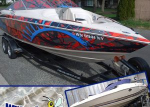Boat wrapped in Custom printed on 180Cv3 vinyl Solvex perforated vinyl on the windows with CurvaLam overlaminate