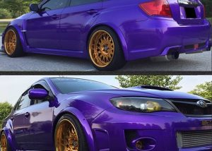 Subaru WRX wrapped in 2300X Amethyst Candy vinyl