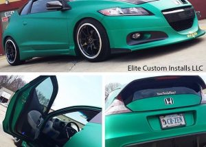 Honda CRZ wrapped in Arlon UPP Green Aluminum