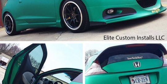 Honda CRZ wrapped in Arlon UPP Green Aluminum