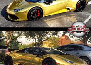 Lamborghini Huracan wrapped in Avery Gold Chrome vinyl