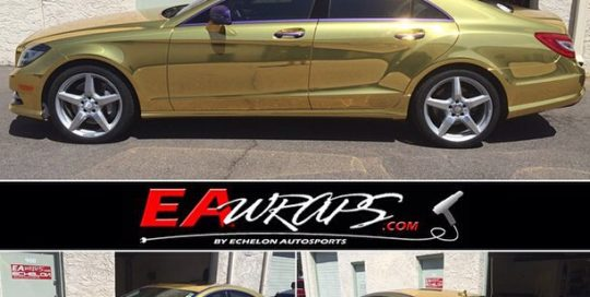 Mercedes Benz CLS 550 wrapped in Avery Gold Chrome