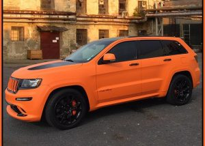 Jeep wrapped in UPP Matte Fierce Orange