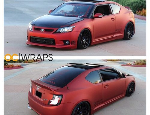 Toyota Scion TC wrapped in UPP Matte Red Aluminum vinyl