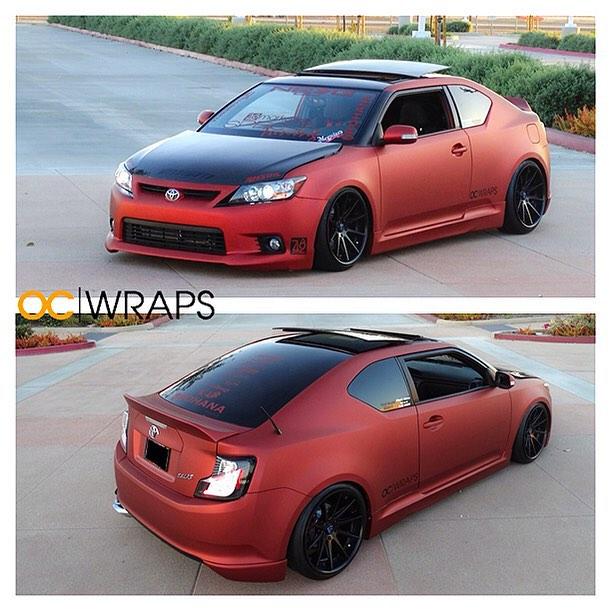 Toyota Scion TC wrapped in UPP Matte Red Aluminum vinyl