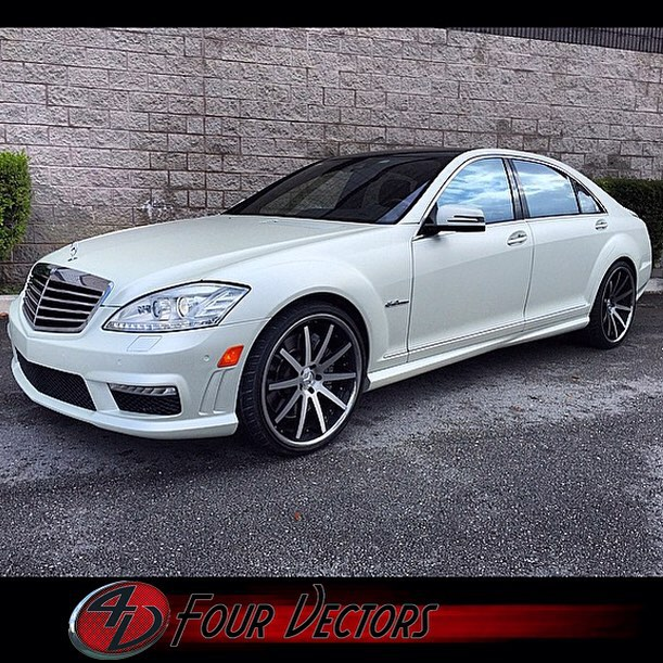 Mercedes Benz S63 wrapped in 1080 Satin Pearl White and Gloss Black vinyl